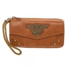 There's something for any and all Wonder Woman fans in this zip top flap front wallet. Tan design with a metal Wonder Woman logo on the front. Snap front flap features Wonder Woman print, card slips, and ID window. Wonder Woman Movie, Wonder Woman Logo, Dc Comics, Brown Wallet, Zip Wallet, Marvel Dc, Captain Marvel, Funko Pop, Barcelona