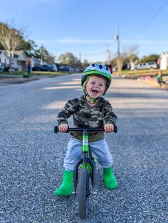 The Strider 12 Sport Balance Bike is our all-around fun factory. Toddler Bike, Kids Bike, How To Develop Confidence, Green Boots, Balance Bike, Striders, Baby Steps, Raising Kids, Bike Life