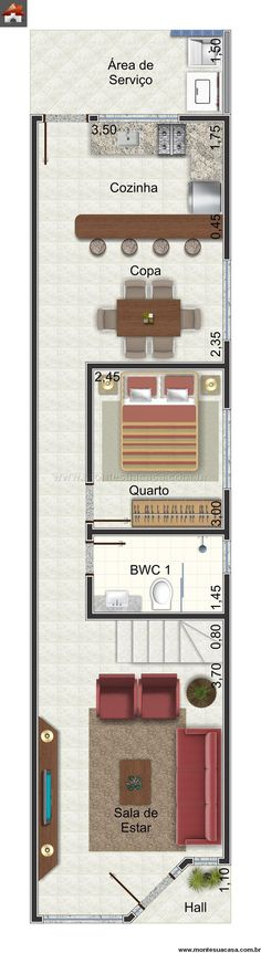Sobrado 1 Quartos - 103.17m²                                                                                                                                                                                 Mais Small House Floor Plans, House Plans, Loft Plan, Compact House, Narrow House, Tower House, House Stairs, Plan Design, Small Apartments