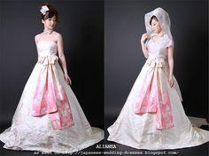 Aliansa's Modern Kimono Fabric Wedding Dresses