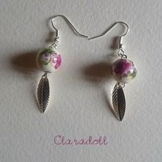 """Boucles d'oreilles """"céramique florale"""" rose et vert"""