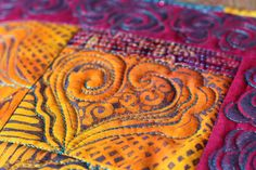 This piece is tropical in its feel, bright and luminous with shades of purple, pink, and golden yellows, turquoise and orange colors.    Hand-dyed