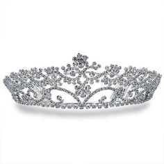 Bling Jewelry Crown Beauty Tiara ($57) ❤ liked on Polyvore featuring jewelry, tiaras, crowns, accessories, hair accessories, clear, fashion-headbandss, clear crystal jewelry, flower crown and flower jewelry