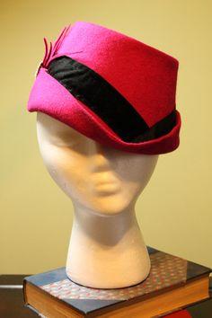 Magenta Hand Blocked Wool Fedorainspired Hat by BaublesAndWhatnots, $70.00