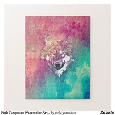 Pink Turquoise Watercolor Artistic Abstract Wolf Jigsaw Puzzle