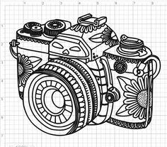 Mandala Style Camera SVG PDF EPS Dxf Studio 3 Cut Files