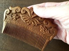 Hand Carved Ornamental Wooden Comb, Small-Fair Trade