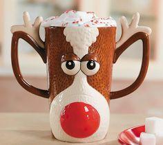 Rudolph Reindeer Face Holiday Mug