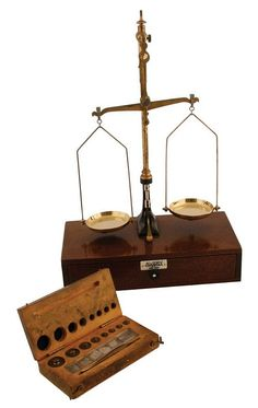 Antique Brass and mahogany apothecary scales, by R. Avery