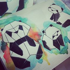 Panda family ! #watercolor #aquarelle #art #panda #draw #drawing #instartist #origami #artist #ink #color #colors #encre #couleur #paper #papier #artwork
