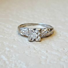 Vintage Antique Diamond Engagement Ring From Art Deco to Retro Era in 14k White Gold Old European Cut Size 6.5