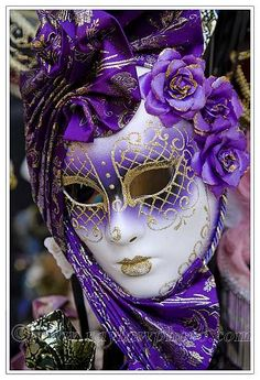 Venecijanske maske - purple and gold