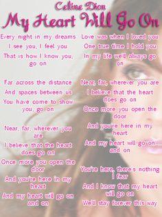 Celine Dion My Heart Will Go On Lyrics Sheet