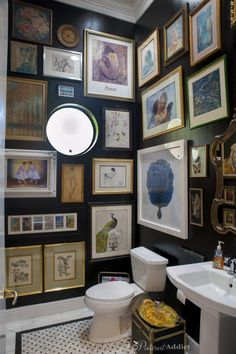 black-bathroom-artwork pinterest addict powder room