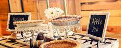 Rustic chic wedding decor. Barn reception. pies