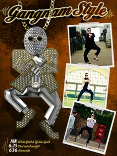 One celebrity was so overcome with Gangnam Style fever that he commissioned Brilliance to create a custom pendant in honor of the wacky dance. This diamond pendant, in the shape of a man doing the signature horse-riding Gangnam Style dance, contains over 600 diamonds for a total of 6 1/4 carat total weight set in 18k white and yellow gold. The Gangnam inspired diamond pendant is now available for purchase through our website.