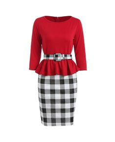 Checked Ruffles Bodycon Dress Voluptuous (+) Size Available Types Of Dresses, Nice Dresses, Dresses For Work, Red Lace Bodycon Dress, Dress Red, Sammy Dress, Ruffles, Fashion Outfits, Clothes For Women