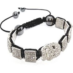 Blue Chip Unlimited - Unisex Skull Crystal Square Bead Hip Hop Bracelet Fashion Jewelry Blue Chip Unlimited. $29.95. unisex hip hop bracelet. stylish runway style. Features eight pave crystal square, one crystal skull and two 10mm black hematite beads.. heavy duty adjustable nylon cord. macrame toggle lock