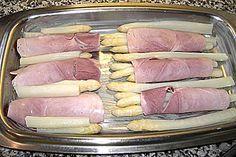 Überbackene Schinken - Spargel - Röllchen sehr lecker mit Kartoffeln