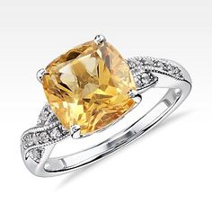 Citrine and White Sapphire Ring in Sterling Silver (9x9mm) $165 Citrine Jewelry - November Birthstone Jewelry | Blue Nile