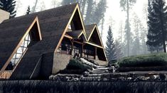 Darko Subotin is using CryEngine to make a little short called Lilly. A Frame House Plans, A Frame Cabin, Cabins In The Woods, House In The Woods, Triangle House, Dome House, Forest House, Cozy Cottage, Cabin Homes