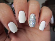 white and sparkly nails