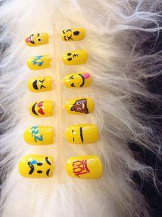 Emoji press on nails by DopeNailArt on Etsy