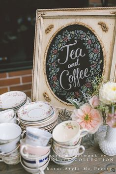 Custom drawings by Moulage Collection • Tea & Coffee bar • artwork for vintage shabby chic wedding • Drawn by hand