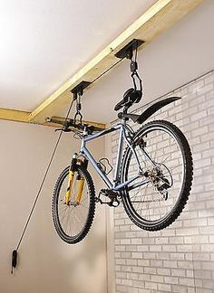 Mottez Bike Bicycle Lift Pulley System Storage Rack Holder Lift Basement Garage in Sporting Goods, Cycling, Bike Accessories | eBay
