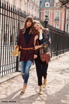 The models stroll down the street in Vero Moda autumn 2016 selection