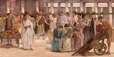 El apóstol Pablo predicando en un mercado de Roma