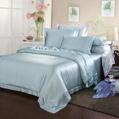 19 Momme Silk Sheets Bedding Sets Online, Beds Online, Luxury Bedding Sets, Silk Bedding, Duvet Bedding, Silk Sheets, Black Bed Linen, Bed Linen Sets, Duvet Covers