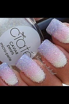 Stunning Tricolour ombre lilac, pink and white nail art using caviar beads...x