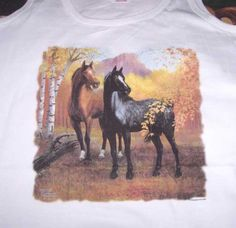 Horses in Autumn Forest Tank Top