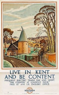 KENT - SR Vintage Tourism Poster - Live in Kent and Be Content - ENGLAND