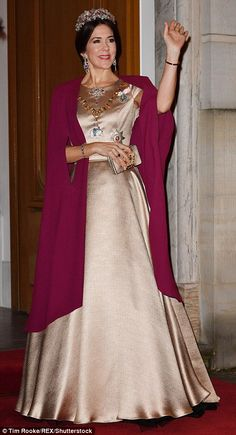 Crown Princess Mary at the annual New Year's Banquet at Amalienborg palace in Copenhagen, 2017