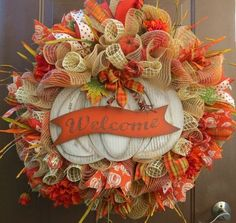 Fall deco mesh wreath ideas DIY thanksgiving decorating ideas deco mesh ribbons