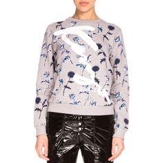 Kenzo Dandelion Crewneck Pullover Sweatshirt (1,185 SAR) ❤ liked on Polyvore featuring tops, hoodies, sweatshirts, pale g, long sleeve tops, pink pullover, pullover sweatshirt, pink top and kenzo sweatshirts