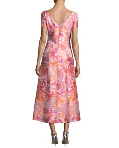 St. John Collection Washed Bouquet Jacquard Cocktail Dress