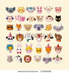 Set Of Animal Face Icons Stock Vector 133669688 : Shutterstock