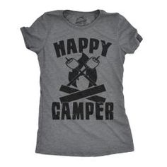 c4815687d Womens Happy Camper Shirt Funny Camping Shirts Cool Vintage Tees Retro  Design Camping Humor, Tent