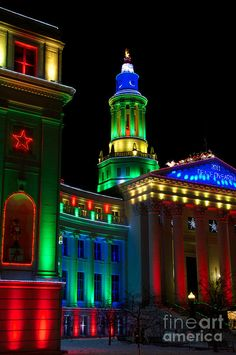 Denver County Courthouse decorated for the holidays. Colorado