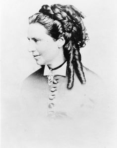 1850 photo Clara Barton-a wellknown nurse.  She was born in Mass. in 1821. She became the first president of the American Red Cross.