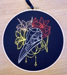 Bird skull & lilies embroidered art  lily floral gothic