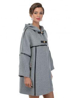 Женское полупальто Пальто Трапеция ДК 4 02.167 серого цвета за 9900 руб.