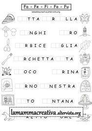 scheda di sillabe fafefifofu da completare con la sillaba giusta Italian Language, Grade 1, Activities For Kids, Homeschool, Math Equations, Teaching, How To Plan, Education, Princess