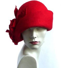 Red felt hat Cloche Felted Hat felt hat Cloche Hat Flapper Hat Art Hat Red Hat La belle epoque Art Deco 1920s hat Art Hats Red hat cloche 1920s hat Hats&Caps Accessories Handmade Great, very flattering hat ! Adapts to the head ! Special and unique ! Sophisticated and elegant ! On order