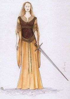 """Concept art for Eowyn's Shieldmaiden gown from """"Lord of the Rings: Return of the King"""" (2003)"""