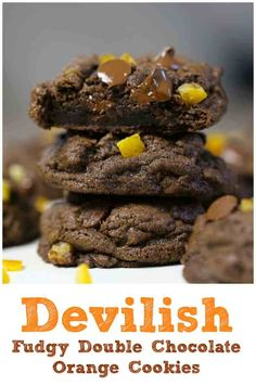 tempting soft, thick and fudgy double chocolate chip cookies studded with sweetened candied orange peel. Chocolate Dipped Fruit, Best Chocolate Desserts, Double Chocolate Chip Cookies, Chocolate Chocolate, Gooey Cookies, Baking Cookies, Candied Orange Peel, Best Cookie Recipes, Sugar Cravings