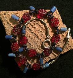 """Quiero compartir lo último que he añadido a mi tienda de #etsy: Rework Necklace Boho """" Haji Beads """"  Joya única realizada con antiguas piezas http://etsy.me/2GQHrYV #joyeria #collar #rojo #cristaldebohemia #monedasdecambio #perlasafricanas #tradebeads #azul #boho"""